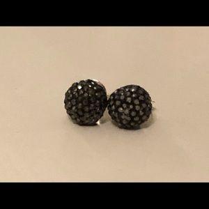 black sparkly sphere earrings.